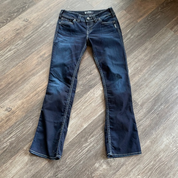 Women's Silver Suki Mid Slim Boot Cut Jeans Sz 28